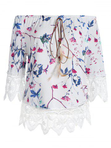 Store Lace Insert Off The Shoulder Floral Top