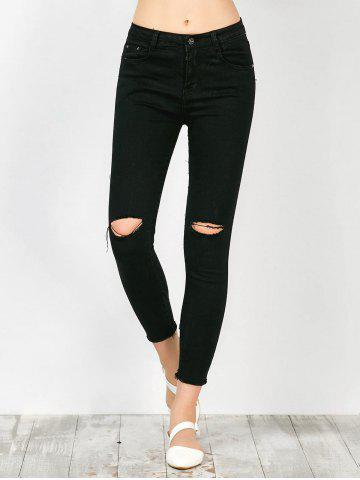Best Distressed Frayed Hem Jeans BLACK XL