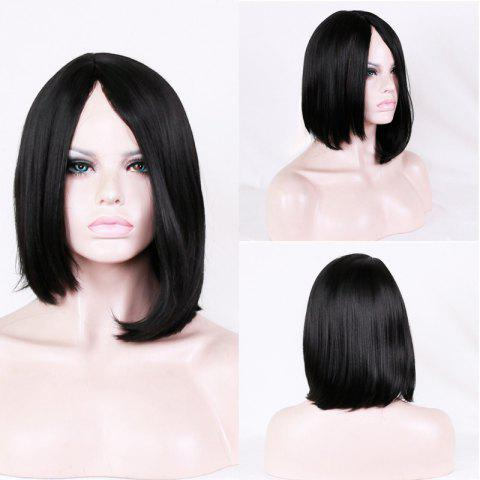 Adiors Short Asymmetric Bob Side Parting Synthetic Wig - Black