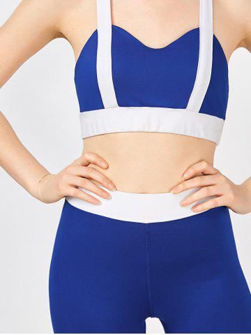 Discount Padded Bra With Two Tone Sports Leggings - M BLUE AND WHITE Mobile