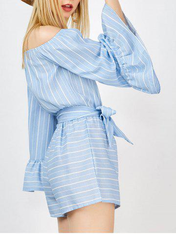 Cheap Off The Shoulder Striped Romper With Belt BLUE S