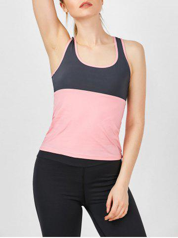 New U Neck Two Tone Running Tank Top PINK S