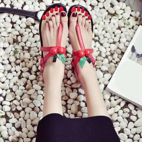 Best Faux Pearls PU Leather Sandals - 37 RED Mobile