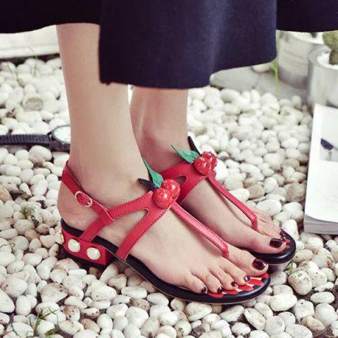 Unique Faux Pearls PU Leather Sandals - 37 RED Mobile