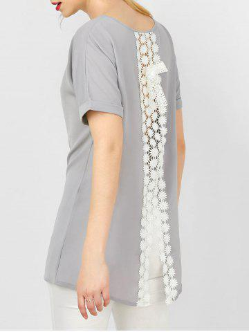 Buy Cuffed Sleeve Crochet Lace Insert Asymmetrical Blouse - Gray L