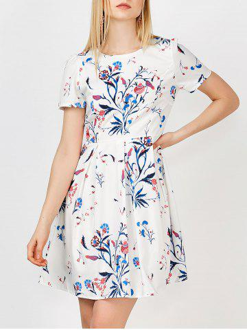 Buy Floral Print Fit Flare Dress - White 2XL