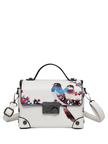 Affordable Bird Print Metal Detail Handbag WHITE