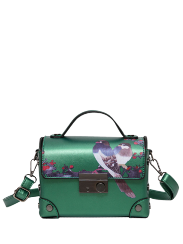 Hot Bird Print Metal Detail Handbag GREEN