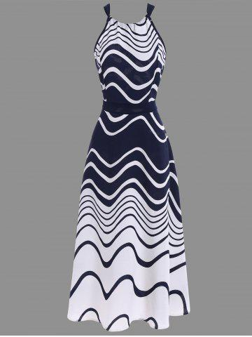 Store Ripple Print Tea Length Chiffon Halter Dress BLUE M