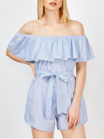 Discount Off The Shoulder Ruffle Stripe Pants Romper BLUE S