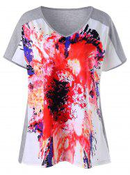 Plus Size V Neck Tie Dye Tee