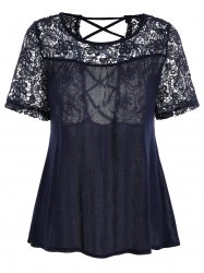 Lace Insert Criss Cross Blouse