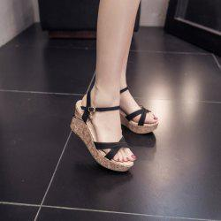 Cross Strap Wedge Heel Sandals