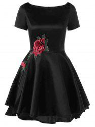 Appliqued Embellished Fit and Flare Dress - BLACK XL