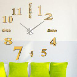 Home Decor DIY Analog Number Wall Clock - GOLDEN