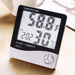 Calendar Temperature Humidity Alarm Digital Clock - BLACK
