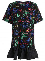 Plus Size Flounce Graffiti High Low Dress
