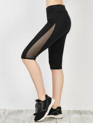Mesh Panel Capri Running Leggings - BLACK