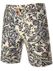 Vintage Flower Print Drawstring Shorts