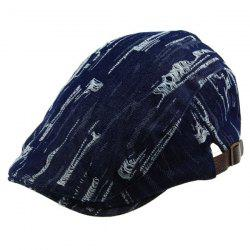 Outdoor effiloché Denim Newsboy Hat - Bleu Foncé