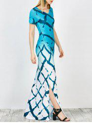 Tie Dye Side Slit Floor Length Dress
