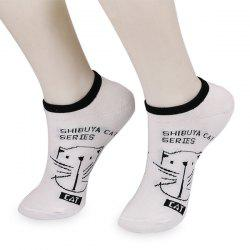 Letters Cat Knitting Ankle Socks -