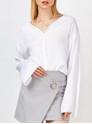 V Neck Oversized Chiffon Blouse