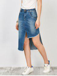 Asymmetrical Denim High Waisted Skirt With Pockets