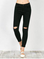 Distressed Frayed Hem Jeans - BLACK