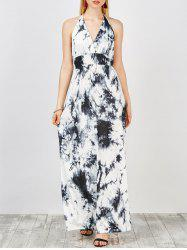 Halter Neck Tie Dye Empire Waist Backless Long Dress