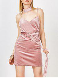 Velvet Metal Design Belted Nude Slip Dress with Choker