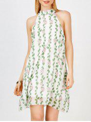Chiffon High Neck Mini Floral Casual Dress