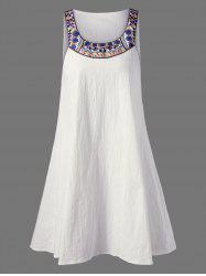 Embroidered Sleeveless Tent Dress