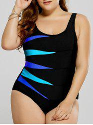 Plus Size Graphic Fitted One-Piece Swimsuit - BLUE