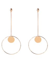 Disc Circle Chain Drop Earrings