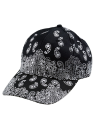 Floral Printed Baseball Cap - BLACK