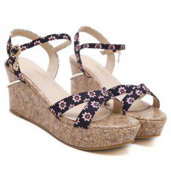 Wedge Heel Floral Print Sandals