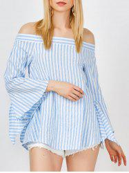 Off The Shoulder Stripe Bell Sleeve Top