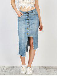 High Rise Asymmetrical Button Up Denim Skirt With Pockets - BLUE