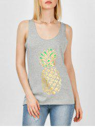 Sequined Pineapple Print Racerback Tank