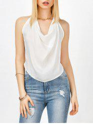 Halter Cowl Neck Open Back Tank Top