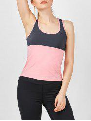 U Neck Two Tone Running Tank Top - PINK