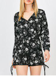 V Neck Floral Long Sleeve Romper