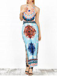 Backless Halter Neck Tribal Print Long Dress