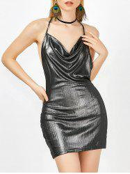 Cowl Neck Open Back Bodycon Mini Metallic Club Dress