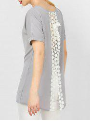Cuffed Sleeve Crochet Lace Insert Asymmetrical Blouse