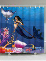 Sea Mermaid Shower Curtain Bath Decoration - OCEAN BLUE