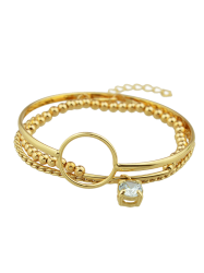 Rhinestone Alloy Beaded Circle Bracelet Set -
