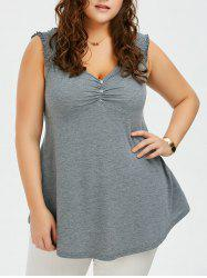 Plus Size Shirred Shoulder Design Babydoll Tank Top