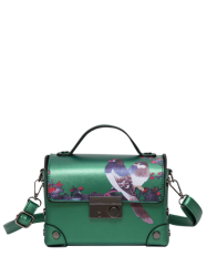 Bird Print Metal Detail Handbag - GREEN